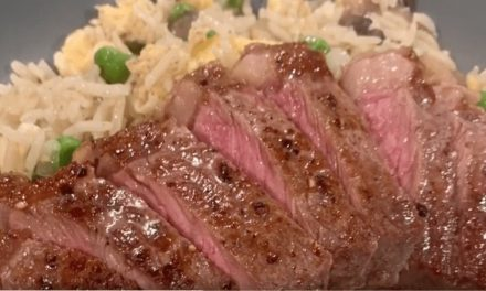 Sirloin steaks with egg fried rice