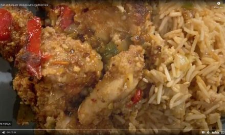 Salt and pepper chicken with fried rice